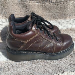 Dr. Martens Air Wair Brown Leather Platform Shoes
